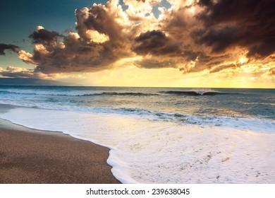 Sunset beach in natural park the  Gabo de Gata, Almeria, Spain