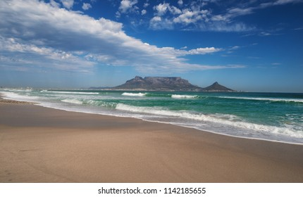 Sunset Beach near Cape Town. View to Table Mountain