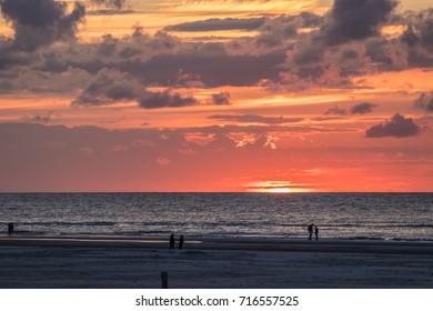 Sunset at the beach of Nes on island Ameland (Netherlands)