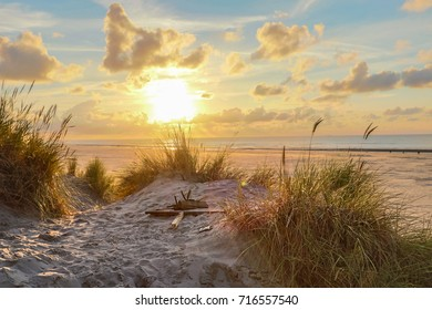 Sunset at the beach of Nes on island Ameland (Netherlands)