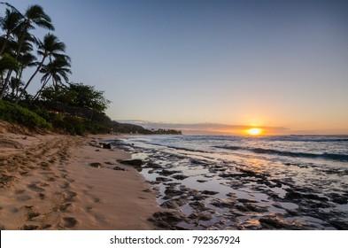 Sunset Beach Oahu, Hawaii Sunset with Palm Trees and Rocks