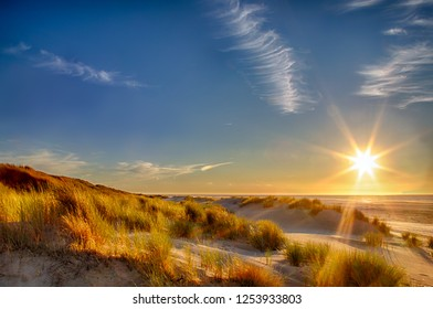 Sunset at the beach on the East Frisian Island Juist in the North Sea, Germany.