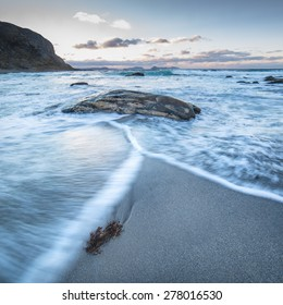 Sunset at a beach on the island close to Aalesund in Western Norway