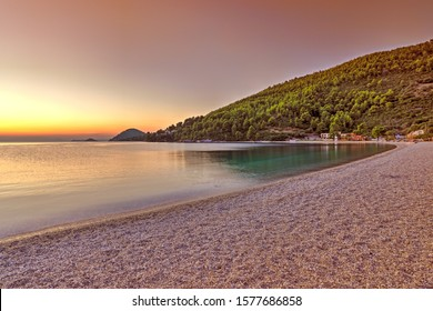 The sunset at the beach Panormos of Skopelos island, Greece