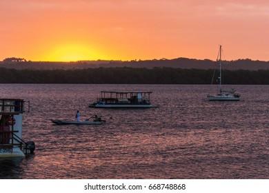 Sunset at Jacaré beach, Paraiba, Brazil