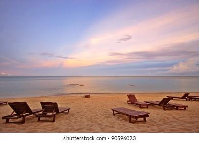 Sunset Beach with Sunbeds