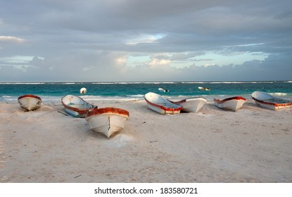 Sunset in the beach of Tulum, Mexico