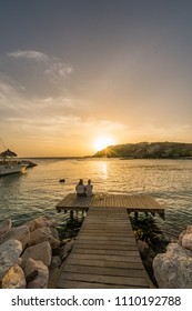 Sunset at the beach  Views around the small Caribbean island of Curacao