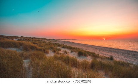 Sunset at the beach. Vrouwenpolder, The Netherlands