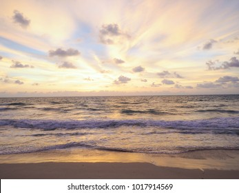 sunset and beach,Beautiful naturally seascape sunset overcast with tone image