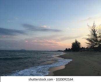 Sunset beach-view and shoreline with twilight sky.Landscape concept.