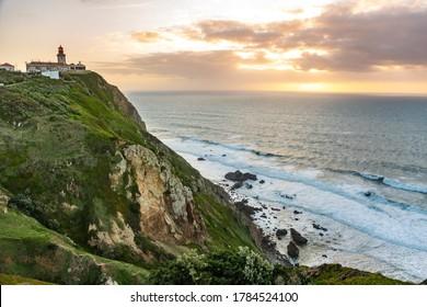 Sunset Beacon on Cabo da Roca or Cape Roca tourist attraction of Portugal
