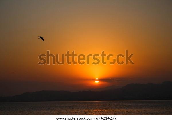 sunset at beautiful beach