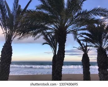 Sunset in a beautiful beach in Costa Brava