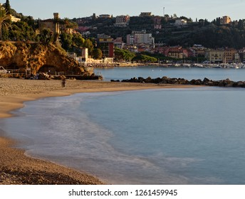 sunset in a beautiful beach in lerici long exposure effect
