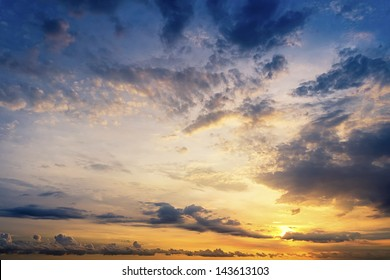 Sunset with beautiful blue  sky