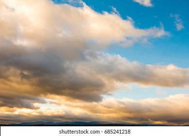 Sunset with beautiful blue sky