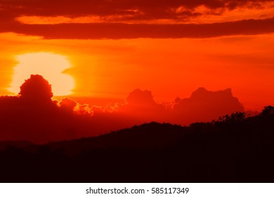 sunset beautiful colorful landscape and silhouette tree mountain in sky twilight time