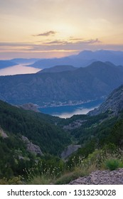Sunset, beautiful  mountain landscape.  Dinaric Alps, Montenegro, view of Bay of Kotor from Lovcen mountain