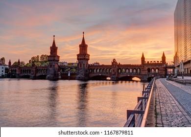 Sunset at the beautiful Oberbaumbridge in Berlin, Germany