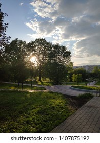 Sunset in beautiful park in Moscow