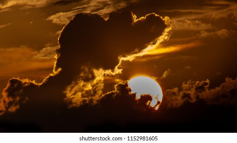 sunset with a beautiful sun and cloud