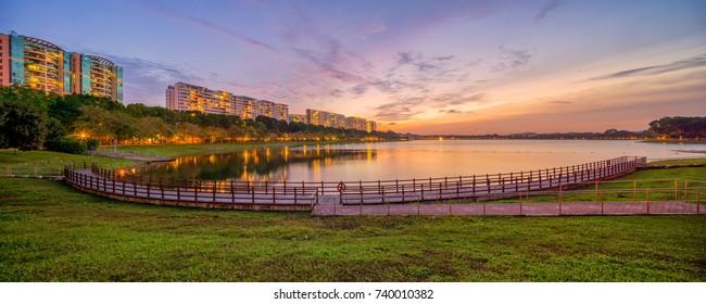Sunset at Bedok Reservoir in Panorama