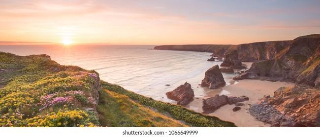 Sunset Bedruthan Steps Cornwall Uk