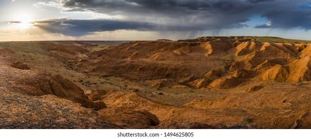 Sunset before the rain in the Flaming Cliffs in the Gobi desert, Mongolia.