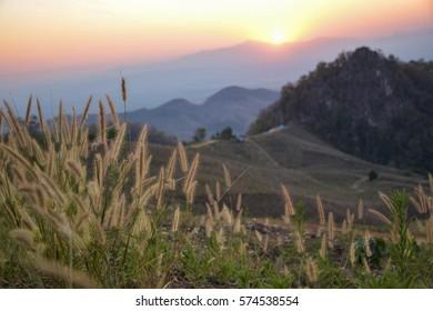 Sunset behide the mountain