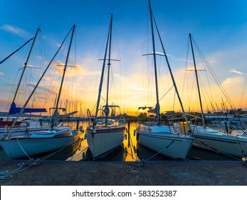 Sunset Behind Boats Docked on Lake Balaton, Hungary, Europe