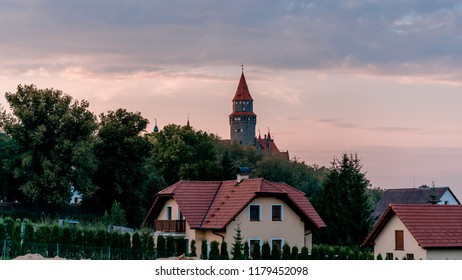 Sunset behind the Bouzov castle. - Shutterstock ID 1179452098
