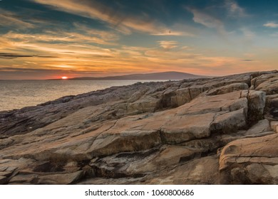 Sunset behind Cadillac Mountain Acadia National Park Mt Desert Island Maine