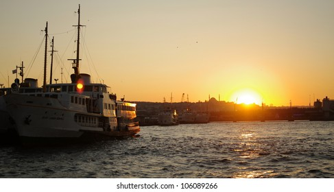 sunset behind a ferry / istanbul