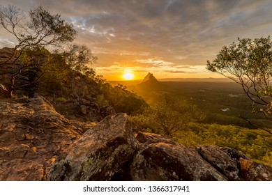 Sunset behind the Glass House Mountains