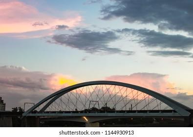 Sunset behind Goodwill Bridge - pedestrian and cyclist bridge that spans the Brisbane River
