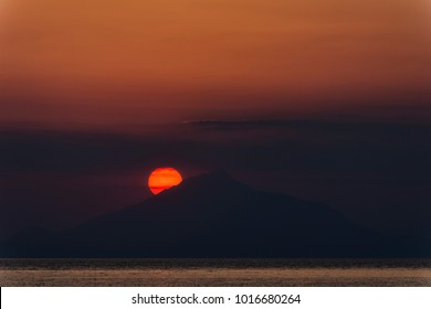 Sunset behind holly mountain of Athos, view from Myrina, Lemnos