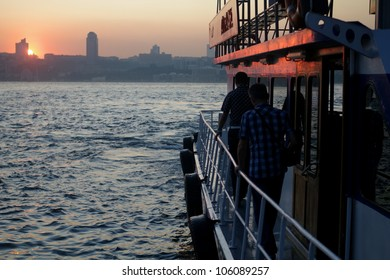 sunset behind istanbul silhouette