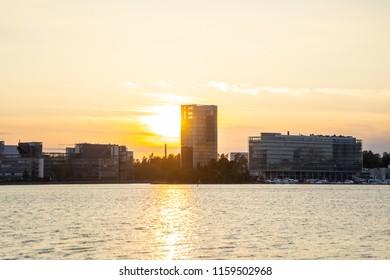 Sunset behind Laguuni, Laguna Espoo Helsinki Finnland, golden hour in Finland