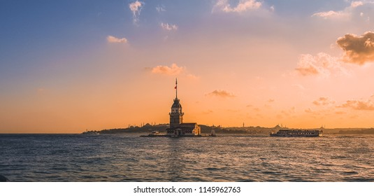 Sunset behind Maiden Tower which is symbol of Istanbul