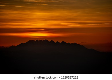 sunset behind the mountain resegone