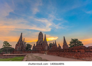 sunset behind the ruins pagoda of wat Ckaiwatthanaram Temple of Ayutthaya Province ( Ayutthaya Historical Park )Thailand