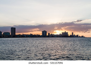 Sunset behind the skyline of Havana, Cuba