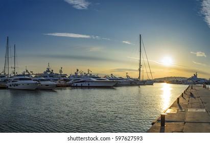 Sunset behind the yachts at marina flisvos in Athens - Greece