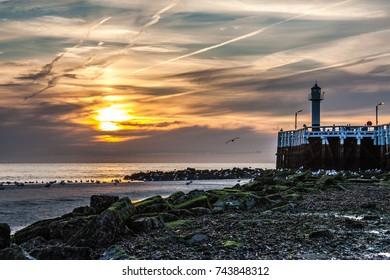 sunset at the belgian coast