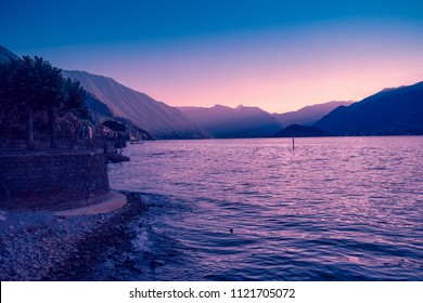Sunset in Bellagio, Como lake, Lombardy, Italy. Beautiful Como landscape.