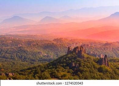 Sunset Belogradchik cliff rocks, nature gem landmark, sunset panoramic landscape, Bulgaria