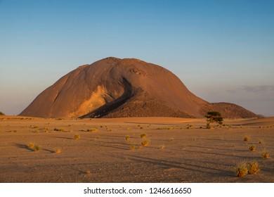 sunset at Ben Amira in mauretania Sahara area