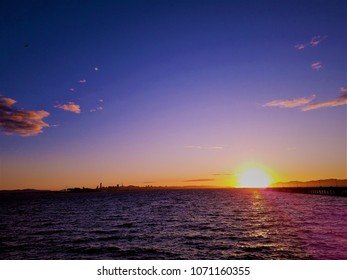 the sunset at Berkeley Bay and San Francisco bay