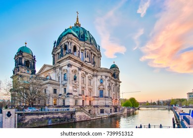 Sunset at Berlin Cathedral in Berlin, Germany.